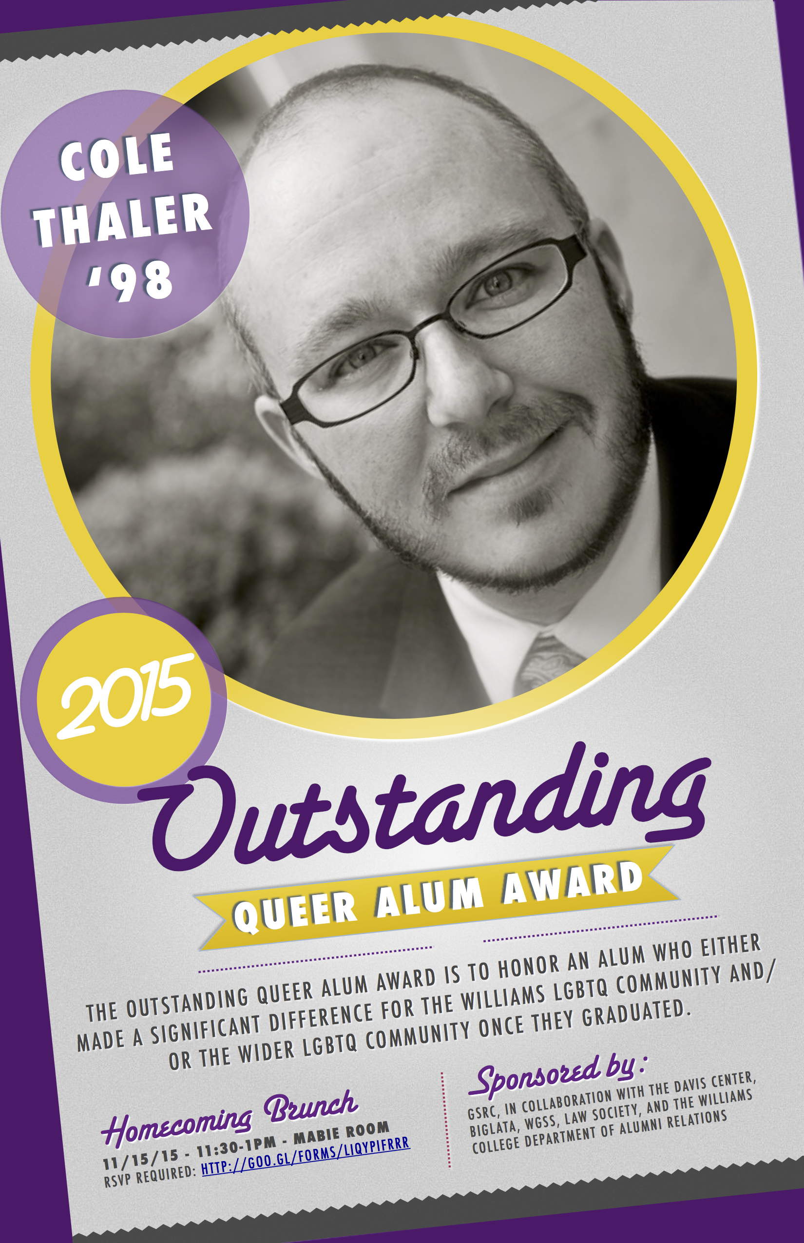 2015 outstanding queer alum award announcement brunch poster